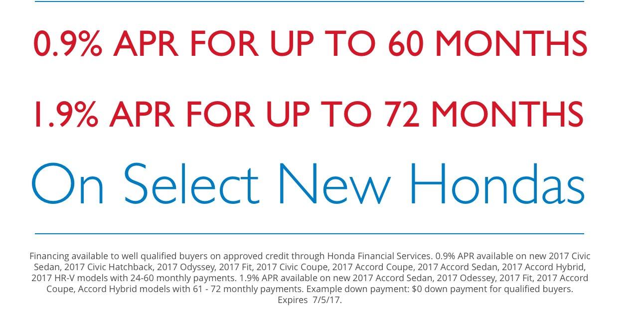 0.9% APR for up to 60 Months | 1.9% APR for up to 72 Months | On Select New Hondas