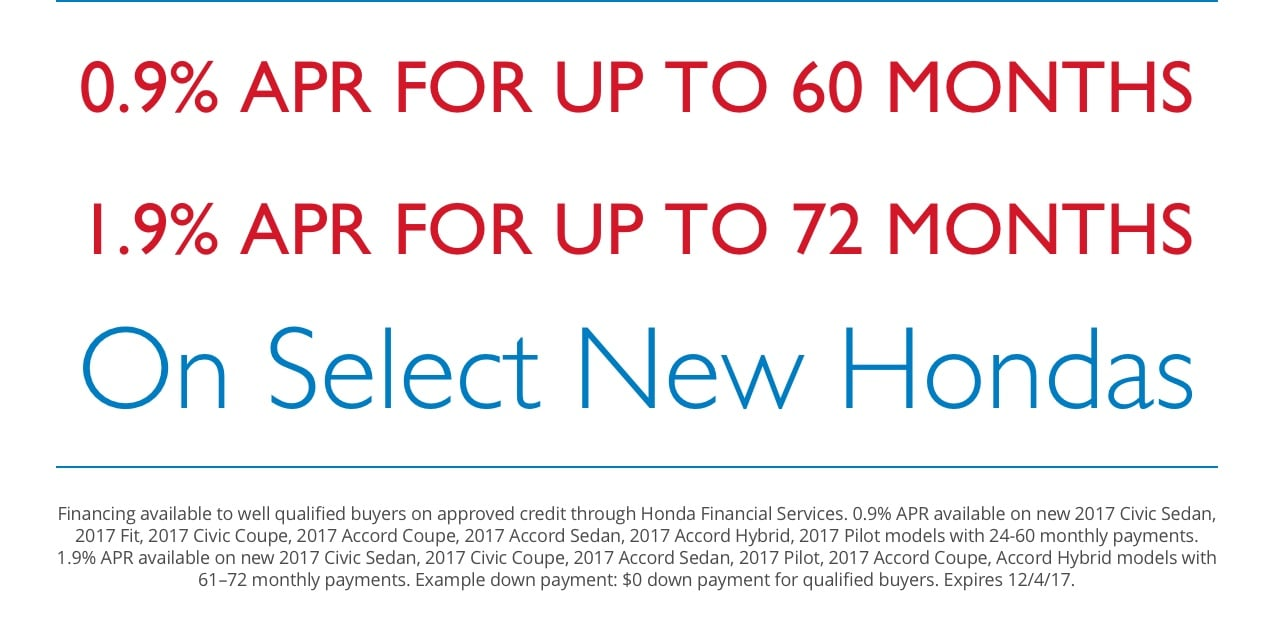 0.9% APR for up to 60 Months | 1.9% APR for up to 72 Months | On Select New Hondas